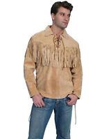 QMUK Western Men's Fringed Suede Leather Shirt Jacket