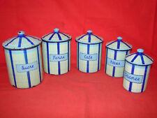 Ancien pots a épices tole émaillés série de 5 - Boite émail - Enamel pot