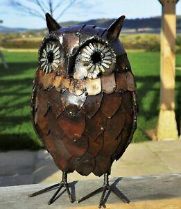 Metal Owl Garden Ornament Sculpture Art - Handmade Recycled Metal Bird