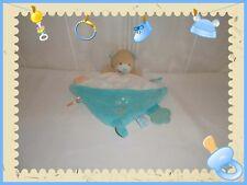 V - Doudou Semi Plat Activités Dentition Ours Bleu Blanc Etiquettes  Baby Nat