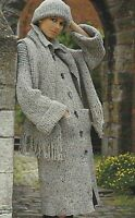 "Ladies Coat, Scarf and Hat Knitting Pattern in Chunky 32-38"" 759"