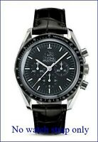 20mm BLACK LEATHER STRAP&DEPLOYANT CLASP for OMEGA SPEEDMASTER MOONWATCH