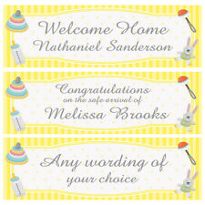 2 PERSONALISED BABY BANNERS BABY SHOWER, WELCOME HOME BABY, SAFE ARRIVAL ETC
