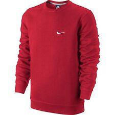 Nike Club Crewneck Mens Fleece Sweat Shirt Red White 611467-611 L NWT