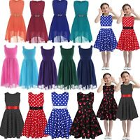 Kids Girls Flower Dress Party Wedding Pageant Casual Dresses Sundress Clothes