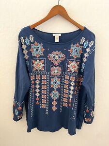 Sundance Catalog Storyteller Floral Embroidered Shirt Top Long Sleeve Sz XL