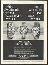 LONGINES ULTRA-CHRON watch 1969 Vintage Print Ad