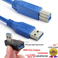 SuperSpeed USB 3.0 Type A to B Cable 3FT+Right Angle USB 3.0 Male-Female Adapter