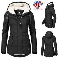 Women Warm Fleece Lined Jacket Parka Ladies Winter Hooded Coat Outwear Overcoat