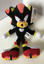 """Sonic the Hedgehog Shadow Plush Stuffed Animal Black 9"""" Jazwares Sega w/Tag E6"""