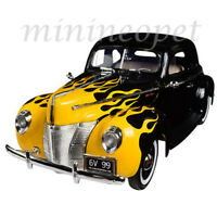 MOTORMAX 73108 1940 FORD DELUXE 1/18 DIECAST BLACK with YELLOW FLAMES