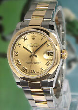 Rolex Datejust 18k Yellow Gold Stainless Steel Ladies Midsize Watch 178243