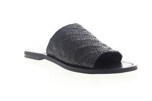 Frye Robin Woven Slide 70167 Womens Black Leather Sandals Slip On Slides Shoes