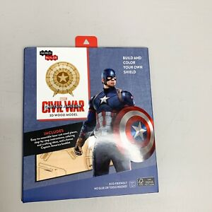 Incredibuilds Marvel Civil War Wooden 3D Wood Model - Shield - New