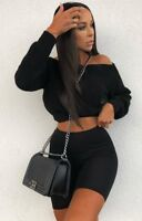 New Womens Off Shoulder Slash Neck Knitted Cropped Jumper Winter Sweater Top
