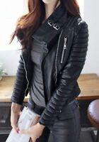 HOT New Women's Genuine Lambskin Leather Jacket Motorcycle Quilted Biker Jacket