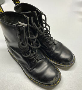 Dr Doc Martens Womens Black Faux Leather 1460 W 8 Eye Boots Size 8