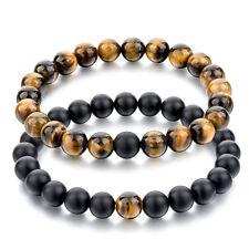 2 pcs Black Matte Agate & Tiger Eye Gem Beads Double Matching Distance Bracelets
