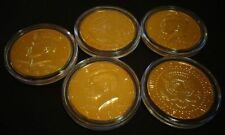 LOT OF 5 *24 KT GOLD PLATED KENNEDY HALF DOLLAR* COIN SET -- AIRTIGHT CAPSULE.