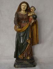 Vierge à l'Enfant en Bois Sculpté Polychrome Epoque  XVIIIème Siècle