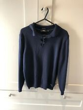 Hugo Boss Mens Extra Fine Merino Wool Navy Blue Polo Neck Jumper S (M) RRP £120