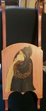 "Vintage 28"" WOODEN SNOW SLED Pink with Old Time Santa Victorian Style Decor"