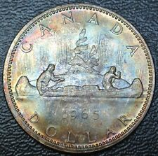 1965 CANADA $1 DOLLAR-.800 SILVER-Elizabeth II-Gorgeous Rainbow Tone -FROM ROLL
