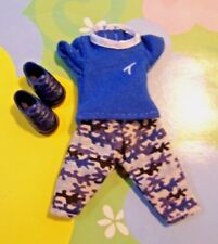 "Kelly Chelsea Doll Clothes *Tommy's Blue ""T"" Shirt Camo Pants Set Outfit Shoes*"