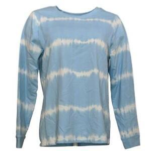 Denim & Co. Tie-Dye French Terry Long-Sleeve Sweatshirt Light Blue