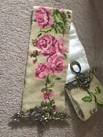 Bell Pull Needle Point Roses Brass Hardware Vintage Antique GUC