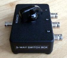 BNC 3-way Switch Box.  Loss 0dB at DC, 2dB at 350MHz. Made in Dorset UK.