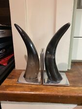 Vintage Silver Metal HORN BOOK ENDS BOOKENDS