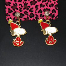 Crystal Betsey Johnson Women Stand Earring Hot Red Enamel Cute Cartoon Puppy Dog
