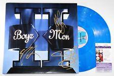 BOYZ II MEN SIGNED II 2x LP BLUE VINYL RECORD MORRIS STOCKMAN AUTOGRAPH +JSA COA