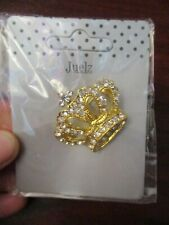 Ladies Brooch Gold Colour Crown Brooch with Diamante Detail