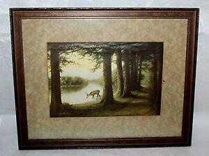Antique Zula Kenyon Framed Print Deer in Forest Matted