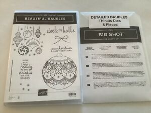 """Stampin' Up Photopolymer """"Beautiful Baubles"""" & Matching Dies. Light use only"""