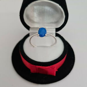 Ceruleite solitaire ring in Sterling Silver
