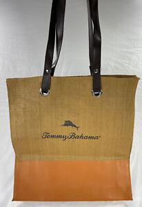 Tommy Bahama Woven Straw Tan & Orange Shopper Beach Tote Bag 15x14 GUC