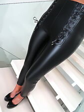 Monte Cervino Neu Schwarz Leder Optik Stretch Damen Z97 Pants Hose Leggings L