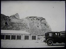 Glass Magic Lantern Slide VINTAGE CAR GIBRALTAR ? C1930 PHOTO