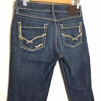 BKE Buckle Sabrina Womens Jeans Sz 26x33 Stretch Denim Boot Cut Thick Stitching.