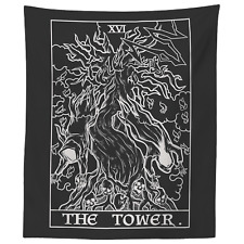 The Tower Tarot Card Tapestry Skeleton Ghost Twisted Tree of Life Spooky Art