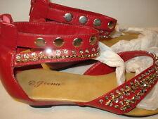 Geena Women Red Open Toe Shoes - Fashion Rhinestone detail
