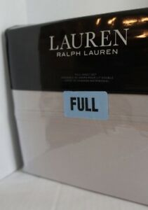 Ralph Lauren Full Sheet Set Landon Washed Percale Solid Alloy Gray 100% Cotton