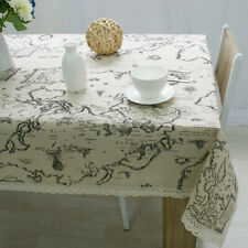 World Map Rectangular Cotton Linen Table cloth with Lace Dinning Tablecloth