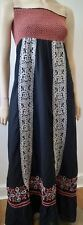 ALICE BY TEMPERLEY Black Pink & White Cotton Bandeau Elastic Bust Maxi Dress UK8