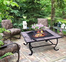"""32"""" Metal Square Fire pit Fireplace Heater BBQ Grill Stove Outdoor Patio Cover"""