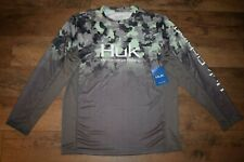 HUK Men's Icon X Refraction Camo Fade L/S Fishing Shirt Size L (New Superior)