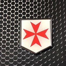 "Knight Templar Maltese cross Domed CHROME Emblem Car 3D Sticker 2""x 2.25"" Malta"